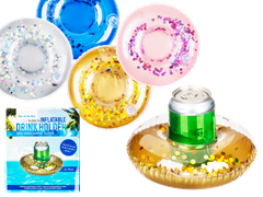 Pool Float Drink Holder Holographic Glitter 2-pack