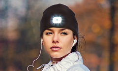 USB Rechargeable LED Beanie Hat Light