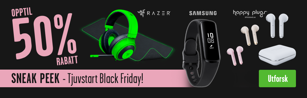 Tjuvstart Black Friday - Sneak Peek med opptil 50% rabatt på for eksempel Happy Plugs, Razer og Samsung.