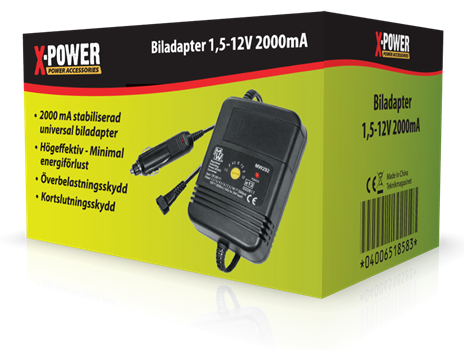 X-Power Biladapter 1,5-12V 2000mA