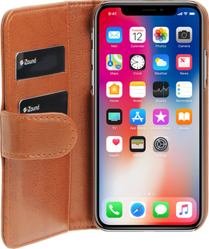 iZound Leather Wallet Case iPhone X Brown