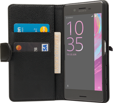 iZound Leather Wallet Case Sony Xperia X Performance Black