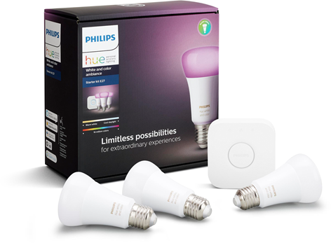 Philips Hue White and Color E27 3pcs + bridge promoset